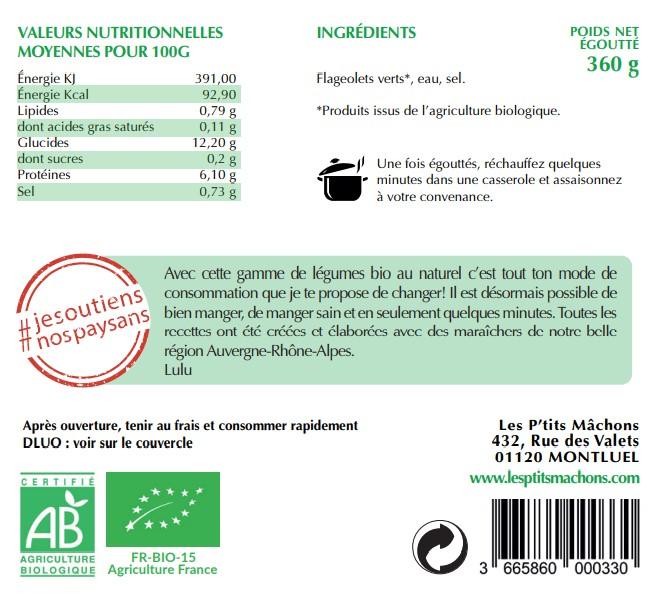 Flageolets verts bio au naturel