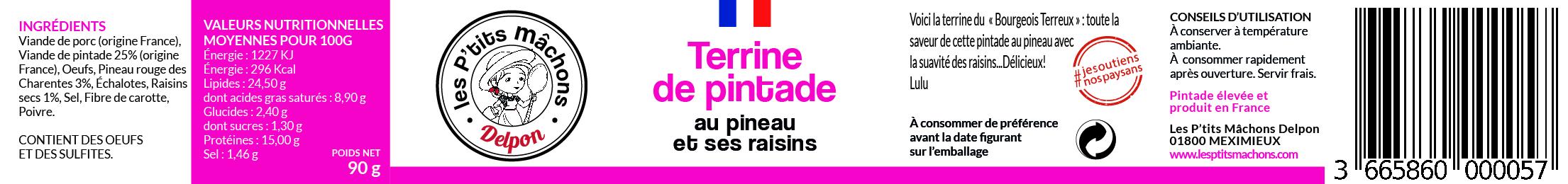 Terrine de pintade au Pineau et ses raisins